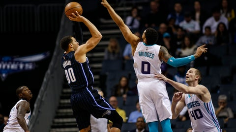 <p>               Orlando Magic forward Aaron Gordon (00) shoots over Charlotte Hornets forward Miles Bridges (0) as Charlotte Hornets guard Terry Rozier, left, and Charlotte Hornets center Cody Zeller, right, look on in the first half of an NBA basketball game in Charlotte, N.C., Monday, Feb. 3, 2020. (AP Photo/Nell Redmond)             </p>