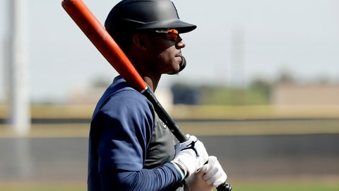 <p>               Seattle Mariners' Kyle Lewis waits to bat during spring training baseball practice Tuesday, Feb. 18, 2020, in Peoria, Ariz. (AP Photo/Charlie Riedel)             </p>