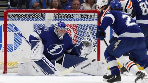 <p>               Edmonton Oilers' Caleb Jones scores past Tampa Bay Lightning goaltender Andrei Vasilevskiy, of Russia, during the second period of an NHL hockey game Thursday, Feb. 13, 2020, in Tampa, Fla. (AP Photo/Mike Carlson)             </p>