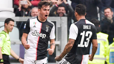 <p>               Juventus' Paulo Dybala, left, celebrates scoring his side's opening goal during the Serie A soccer match between Juventus and Brescia, a the Allianz Stadium in Turin, Italy, Sunday, Feb. 16, 2020. (Marco Alpozzi/Lapresse via AP)             </p>