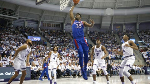 <p>               Kansas center Udoka Azubuike (35) dunks against TCU defenders guard Edric Dennis (2), PJ Fuller (4,) Kevin Samuel (21) and Charles O'Bannon Jr. (5) during the first half of an NCAA college basketball game, Saturday, Feb. 8, 2020, in Fort Worth, Texas. (AP Photo/Ron Jenkins)             </p>