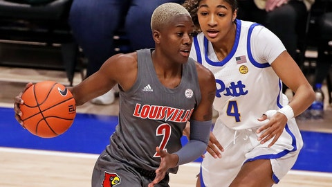 <p>               Louisville's Yacine Diop (2) dribbles past Pittsburgh's Emy Hayford (4) during the first half of the team's NCAA college basketball game in Pittsburgh, Sunday, Feb. 23, 2020. (AP Photo/Gene J. Puskar)             </p>