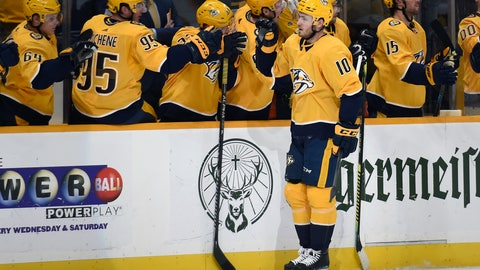 <p>               Nashville Predators center Colton Sissons (10) is congratulated after scoring against the Calgary Flames during the first period of an NHL hockey game Thursday, Feb. 27, 2020, in Nashville, Tenn. (AP Photo/Mark Zaleski)             </p>