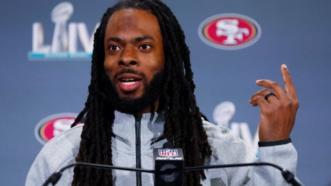 <p>               San Francisco 49ers cornerback Richard Sherman speaks during a media availability, Wednesday, Jan. 29, 2020, in Miami, for the NFL Super Bowl 54 football game against the Kansas City Chiefs. (AP Photo/Wilfredo Lee)             </p>