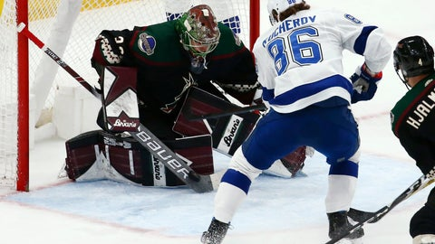 <p>               Arizona Coyotes goaltender Antti Raanta, left, makes a save on a shot by Tampa Bay Lightning right wing Nikita Kucherov (86) during the first period of an NHL hockey game Saturday, Feb. 22, 2020, in Glendale, Ariz. (AP Photo/Ross D. Franklin)             </p>