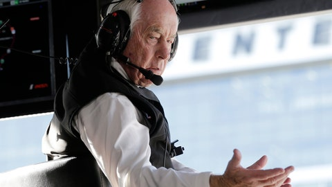 <p>               Acura Team Penske owner Roger Penske gestures to a crew member during the Rolex 24 hour auto race at Daytona International Speedway, Saturday, Jan. 25, 2020, in Daytona Beach, Fla. (AP Photo/Terry Renna)             </p>