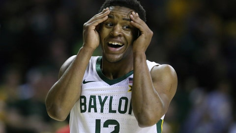 <p>               Baylor guard Jared Butler reacts to a score against West Virginia in the first half of an NCAA college basketball game, Saturday, Feb. 15, 2020, in Waco, Texas. (AP Photo/Rod Aydelotte)             </p>