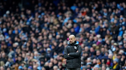 <p>               Manchester City's head coach Pep Guardiola stands by the touchline during an English FA Cup fourth round soccer match between Manchester City and Fulham at the Etihad Stadium in Manchester, England, Sunday, Jan. 26, 2020. (AP Photo/Jon Super)             </p>