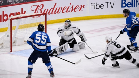 <p>               Winnipeg Jets' Nikolaj Ehlers (27) scores on Los Angeles Kings goaltender Calvin Petersen (40) during the third period of an NHL hockey game Tuesday, Feb. 18, 2020, in Winnipeg, Manitoba. (Fred Greenslade/The Canadian Press via AP)             </p>