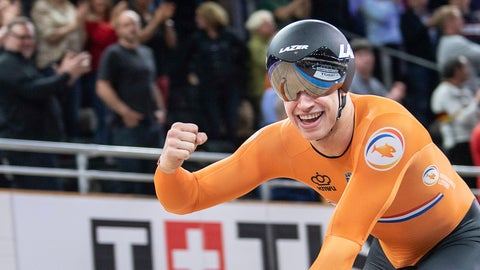 <p>               Harrie Lavreysen from the Netherlands celebrates after winning the gold meda in team sprint men final during the Track Cycling World Championships in Berlin Wednesday, Feb. 26, 2020. (Photo: Sebastian Gollnow/dpa via AP)             </p>