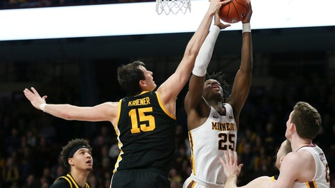 <p>               Iowa's Ryan Kriener (15) blocks the shot of Minnesota's Daniel Oturu (25) during an NCAA college basketball game Sunday, Feb. 16, 2020, in Minneapolis. (AP Photo/Stacy Bengs)             </p>