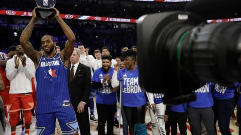 <p>               Kawhi Leonard of the Los Angeles Clippers holds up his NBA All-Star Game Kobe Bryant MVP Award after the NBA All-Star basketball game Sunday, Feb. 16, 2020, in Chicago. (AP Photo/Nam Huh)             </p>