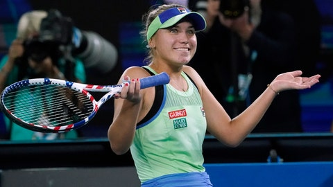 <p>               Sofia Kenin of the U.S. celebrates after defeating Spain's Garbine Muguruza in the women's singles final at the Australian Open tennis championship in Melbourne, Australia, Saturday, Feb. 1, 2020. (AP Photo/Lee Jin-man)             </p>
