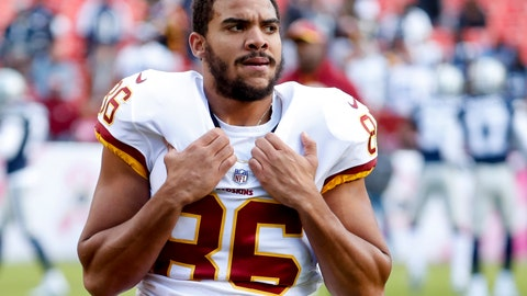 <p>               FILE - In this Oct. 21, 2018, file photo, Washington Redskins tight end Jordan Reed (86), warm up before an NFL football game against the Dallas Cowboys, in Landover, Md. The Washington Redskins have released injury prone tight end Jordan Reed, Thursday, Feb. 20, 2020. Washington creates $8.5 million in salary-cap by cutting ties with him. Reed missed all of last season with his fifth documented concussion of his seven-year NFL career. (AP Photo/Andrew Harnik, File)             </p>