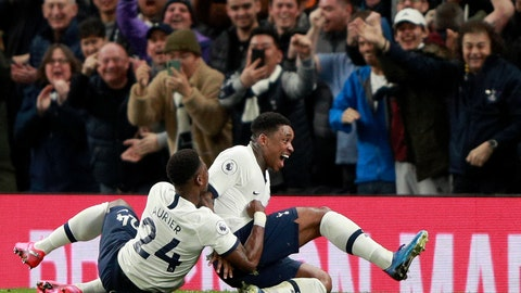 <p>               Tottenham's Steven Bergwijn, right, celebrates with Serge Aurier after scoring the opening goal during the English Premier League soccer match between Tottenham Hotspur and Manchester City at the Tottenham Hotspur Stadium in London, England, Sunday, Feb. 2, 2020. (AP Photo/Ian Walton)             </p>