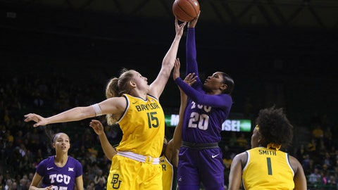 <p>               Baylor forward Lauren Cox (15) fouls TCU guard Lauren Heard (20) as she attempts a shot in the first half of an NCAA college basketball game, Wednesday, Feb. 12, 2020, in Waco, Texas. (AP Photo/Jerry Larson)             </p>