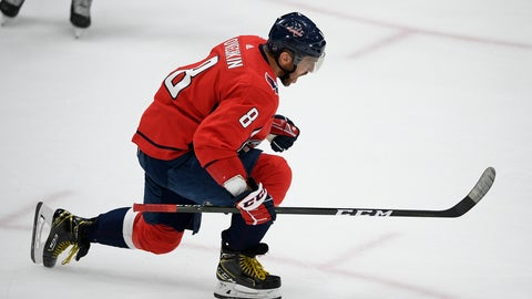 <p>               Washington Capitals left wing Alex Ovechkin celebrates his goal during the third period of the team's NHL hockey game against the Los Angeles Kings, Tuesday, Feb. 4, 2020, in Washington. The Capitals won 4-2. (AP Photo/Nick Wass)             </p>
