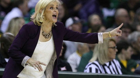 <p>               Baylor head coach Kim Mulkey calls in an offensive play in the second half of an NCAA college basketball game against West Virginia, Saturday, Jan. 18, 2020, in Waco, Texas. (AP Photo/Rod Aydelotte)             </p>