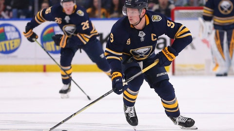 <p>               Buffalo Sabres forward Jack Eichel (9) skates with the puck during the first period of an NHL hockey game against the Columbus Blue Jackets, Saturday, Feb. 1, 2020, in Buffalo, N.Y. (AP Photo/Jeffrey T. Barnes)             </p>