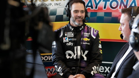<p>               Jimmie Johnson, center, takes part in a radio interview during NASCAR Daytona 500 auto racing media day at Daytona International Speedway, Wednesday, Feb. 12, 2020, in Daytona Beach, Fla. (AP Photo/John Raoux)             </p>