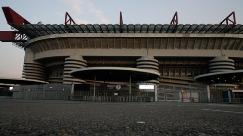 <p>               A view of the San Siro stadium where the Serie A soccer match between Inter and Sampdoria was cancelled, in Milan, Italy, Sunday, Feb. 23, 2020. In Lombardy, the hardest-hit region by the spread of the Coronavirus with 90 cases, schools and universities were ordered to stay closed in the coming days, and sporting events were canceled. Lombardy's ban on public events also extended to Masses in churches in the predominantly Roman Catholic nation. (AP Photo/Antonio Calanni)             </p>