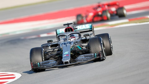 <p>               Mercedes-AMG Petronas' Lewis Hamilton drives during a Formula One pre-season testing session at the Barcelona Catalunya racetrack in Montmelo, outside Barcelona, Spain, Wednesday, Feb. 19, 2020. (AP Photo/Joan Monfort)             </p>