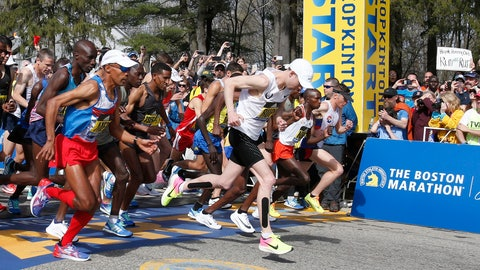<p>               FILE- April 17, 2017, file photo,  Galen Rupp, center, steps for the start of the men's elite runners group in the Boston Marathon in Hopkinton, Mass. Footwear will be a the forefront at the U.S. Olympic marathon trials this weekend in Atlanta. No matter what time the marathoners turn in or how well they run, the they know their shoes will be the real headliner. (AP Photo/Mary Schwalm, File)             </p>
