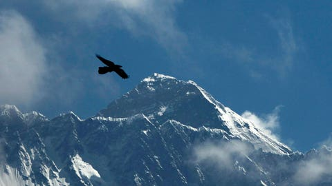 <p>               FILE - In this Monday, May 27, 2019, file photo, a Bird flies in the backdrop of Mount Everest, as seen from Namche Bajar, Solukhumbu district, Nepal. Four experienced Sherpa guides are attempting to climb to the top of Mount Everest in less than a week during the final days of winter to set a new climbing record on the world's highest peak. The team is flying on a helicopter to the Everest base camp on Monday, Feb. 24 and will begin the ascent on Tuesday. (AP Photo/Niranjan Shrestha, File)             </p>