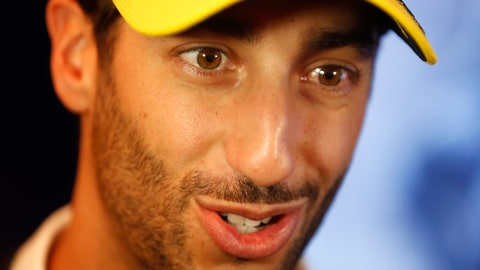 <p>               Renault drivers Daniel Ricciardo of Australia answers media after a press conference, in Paris, Wednesday, Feb. 12, 2020. (AP Photo/Thibault Camus)             </p>