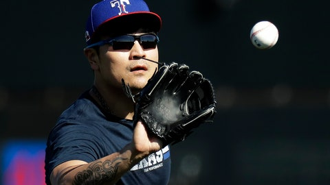 <p>               Texas Rangers' Shin-Soo Choo catches a ball during spring training baseball practice Friday, Feb. 14, 2020, in Surprise, Ariz. (AP Photo/Charlie Riedel)             </p>