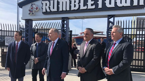<p>               From left to right, MLB deputy commissioner Dan Halem, New York Mets chief operating officer Jeff Wilpon, U.S. Senate Minority Leader Chuck Schumer, Binghamton Mayor Rich David and Rumble Ponies owner John Hughes stand outside NYSEG Stadium in Binghamton, N.Y., Monday, Feb. 24, 2010. Sen. Schumer says Major League Baseball officials agreed to work to keep Binghamton's Double-A baseball team, which is among the 42 minor league franchises targeted to lose their big league affiliation. The New York Democrat met with Halem, Wilpon and Eastern League president Joe McEachern to discuss the future of the Rumble Ponies, a New York affiliate. (AP Photo/John Kekis)             </p>
