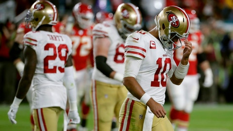 <p>               San Francisco 49ers quarterback Jimmy Garoppolo walks to the sideline during the second half of the NFL Super Bowl 54 football game against the Kansas City Chiefs Sunday, Feb. 2, 2020, in Miami Gardens, Fla. (AP Photo/Matt York)             </p>
