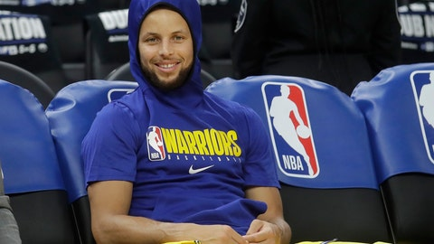 <p>               Golden State Warriors guard Stephen Curry smiles on the bench as players warm up before an NBA basketball game between the Warriors and the Los Angeles Lakers in San Francisco, Thursday, Feb. 27, 2020. (AP Photo/Jeff Chiu)             </p>