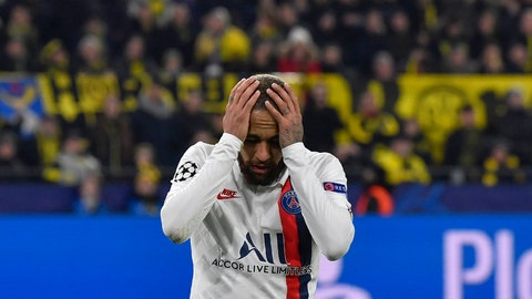 <p>               PSG's Neymar reacts during the Champions League round of 16 first leg soccer match between Borussia Dortmund and Paris Saint Germain in Dortmund, Germany, Tuesday, Feb. 18, 2020. (AP Photo/Martin Meissner)             </p>