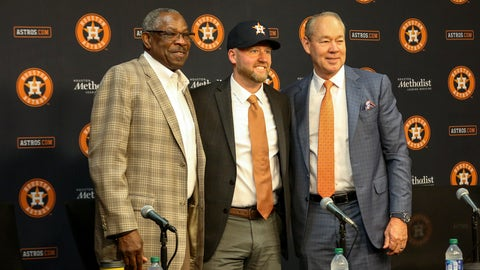 <p>               James Click, center, the newly-hired Houston Astros general manager, poses with Astros manager Dusty Baker, left, and Astros owner and chairman Jim Crane during a baseball press conference Tuesday, Feb. 4, 2020, at Minute Maid Park in Houston. (Jon Shapley/Houston Chronicle via AP)             </p>