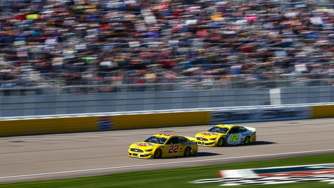<p>               Joey Logano (22) and Ryan Blaney (12) drive during a NASCAR Cup Series auto race at the Las Vegas Motor Speedway on Sunday, Feb. 23, 2020. (AP Photo/Chase Stevens)             </p>