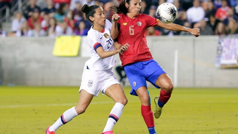 <p>               Costa Rica defender Carol Sanchez (6) pushes back on United States forward Christen Press (20) as she brings down the ball during the second half of a Concacaf women's Olympic qualifying soccer match Monday, Feb. 3, 2020, in Houston. (AP Photo/Michael Wyke)             </p>