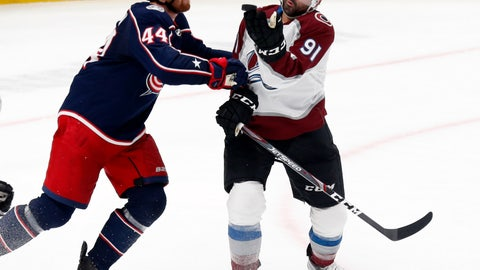 <p>               Colorado Avalanche forward Nazem Kadri, right, tries to catch the puck in front of Columbus Blue Jackets defenseman Vladislav Gavrikov, of Russia, during the third period of an NHL hockey game in Columbus, Ohio, Saturday, Feb. 8, 2020. (AP Photo/Paul Vernon)             </p>