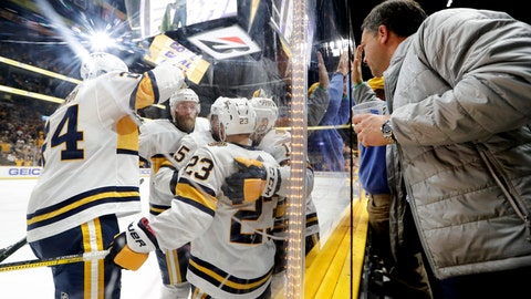 <p>               Nashville Predators players and fans celebrate after a goal by Craig Smith (15) in the second period of an NHL hockey game against the St. Louis Blues, Sunday, Feb. 16, 2020, in Nashville, Tenn. (AP Photo/Mark Humphrey)             </p>