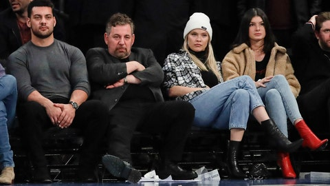 <p>               New York Knicks owner James Dolan, second from left, watches the second half of an NBA basketball game against the Toronto Raptors, Friday, Jan. 24, 2020, in New York. (AP Photo/Frank Franklin II)             </p>