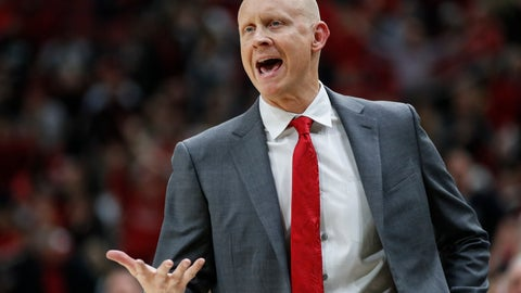 <p>               Louisville head coach Chris Mack reacts to a call during the second half of the team's NCAA college basketball game against Wake Forest on Wednesday, Feb. 5, 2020, in Louisville, Ky. Louisville won 86-76. (AP Photo/Wade Payne)             </p>