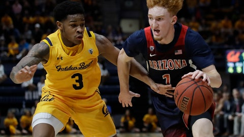 <p>               Arizona's Nico Mannion, right, drives the ball against California's Paris Austin (3) in the first half of an NCAA college basketball game Thursday, Feb. 13, 2020, in Berkeley, Calif. (AP Photo/Ben Margot)             </p>