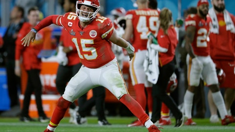 <p>               Kansas City Chiefs' quarterback Patrick Mahomes celebrates his touchdown pass to  Damien Williams in the the second half of the NFL Super Bowl 54 football game Sunday, Feb. 2, 2020, in Miami Gardens, Fla. (AP Photo/John Bazemore)             </p>