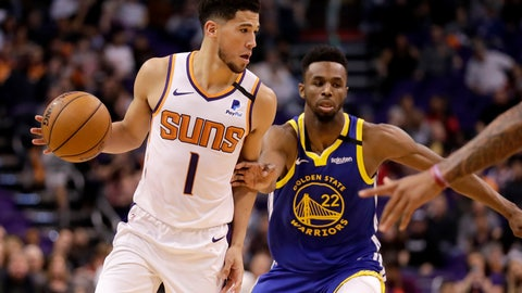 <p>               Phoenix Suns guard Devin Booker (1) looks to pass as Golden State Warriors guard Andrew Wiggins (22) defends during the second half of an NBA basketball game, Wednesday, Feb. 12, 2020, in Phoenix. (AP Photo/Matt York)             </p>