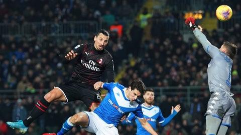 <p>               Milan's Zlatan Ibrahimovic, left, heads the ball, during a Serie A soccer match between Brescia and AC Milan, in Brescia, Italy, Friday, Jan. 24, 2020. (Spada/LaPresse via AP)             </p>