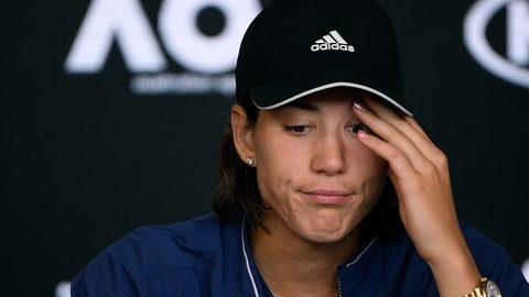 <p>               Spain's Garbine Muguruza answers questions at press conference following her loss to Sofia Kenin of the U.S. in the women's final at the Australian Open tennis championship in Melbourne, Australia, Saturday, Feb. 1, 2020. (AP Photo/Andy Brownbill)             </p>