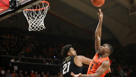 <p>               Oregon State's Alfred Hollins (4) shoots over Colorado's Evan Battey (21) during the first half of an NCAA college basketball game in Corvallis, Ore., Saturday, Feb. 15, 2020. (AP Photo/Amanda Loman)             </p>