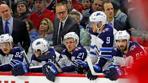 <p>               Winnipeg Jets head coach Paul Maurice, center, watches from the bench during the third period of an NHL hockey game against the Carolina Hurricanes in Raleigh, N.C., Tuesday, Jan. 21, 2020. (AP Photo/Karl B DeBlaker)             </p>