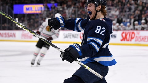<p>               Winnipeg Jets' Mason Appleton (82) celebrates his goal against the Chicago Blackhawks during the second period of an NHL hockey game Sunday, Feb. 16, 2020, in Winnipeg, Manitoba. (Fred Greenslade/The Canadian Press via AP)             </p>