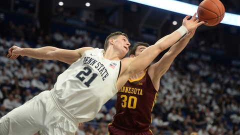 <p>               Penn State's John Harrar (21) and Minnesota's Alihan Demir (30) lunge for a rebound during the first half of an NCAA college basketball game, Saturday, Feb. 8, 2020, in State College, Pa. (AP Photo/Gary M. Baranec)             </p>